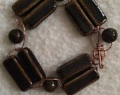 Women's Chocolate Brown Bracelet, Brown Ceramic Bracelet, Ceramic Log Bracelet