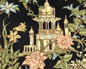 reserved Melissa vintage wallpaper - 1950s hollywood regency asian pagoda wallpaper 8.5 yards available