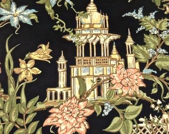vintage wallpaper - 1950s hollywood regency asian pagoda wallpaper 8.5 yards available