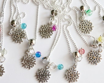 Snowflake Party Favors 10 + Necklaces Snowflake Birthday Party, Winter Party, Winter Necklace, Children Necklace Snowflake, Girls Necklace