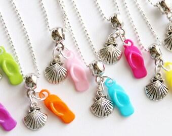 Pool Party Favor Flip Flop Necklace  Beach Party Favors Seashell Necklace 6+ Party Favor Mixed Colors Necklaces