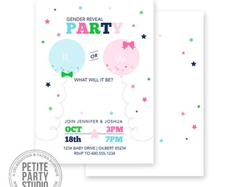Gender Reveal Printable Party Invitation | Baby Shower | Petite Party Studio