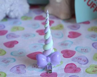 Fairy Kei Mint X Lavender Glow In The Dark Pastel Rainbow Unicorn Horn Hair Clip