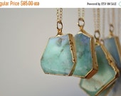 XMAS IN JULY Mint /// Chrysoprase Necklace /// 24kt Gold Electroformed /// Layering, Natural, Stone, Bohemian