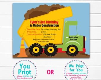 Construction birthday invitation -- construction party dump truck  Construction Birthday Party