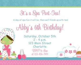 Spa Tea Party Birthday Invitation Spa Birthday Tea Party