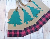 Christmas Gifts Tags Rustic Cabin Country Woodland Tree Plaid Brown Kraft