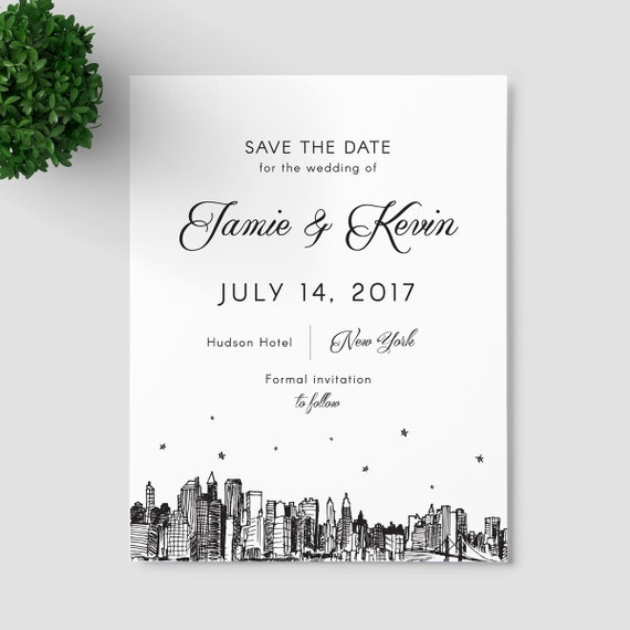 New York City Skyline save the date, SAMPLE ONLY