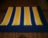 Knit Michigan Wolverines Fan Baby Blanket / Afghan / Lapghan With Crochet Trim