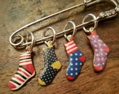 Socks Knitting Stitch Markers set of 4 Snag Free 2 inch Diamante Stitch Holder WIP Progress Place Keepers Knitters Friend enamel mothers day