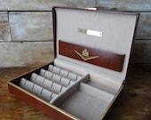 Vintage Mens Valet Mens Jewelry Box Brown Hard Box