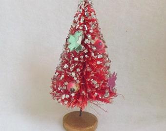 Vintage bottle brush tree reddish pink with fruit, foil decorations and glitter bottlebrush tree 4 inch