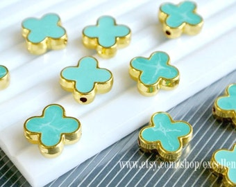 New, Gold plated Double-sided Metal Clover Connector beads in Turquoise blue color- 15mm