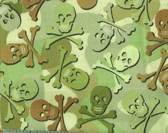 Cotton Fabric - CAMO SKULLS - by the Yard
