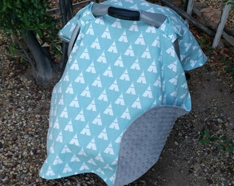 Baby Car Seat Canopy - Baby Car Seat Cover - Tribal Car Seat Canopy - Woodland Canopy - Baby Shower Gift - Aqua Canopy - Grey Canopy