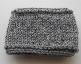 Gray Ear Warmer Hand Knit Headband, Knitted Head Wrap Ear Warmers