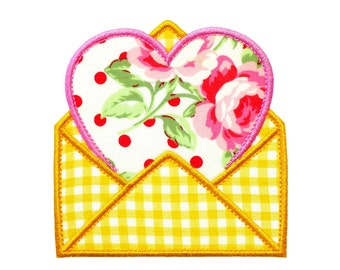 """Heart In Envelope applique machine embroidery design pattern in 4 sizes 3"""", 4"""", 5"""" and 6"""""""