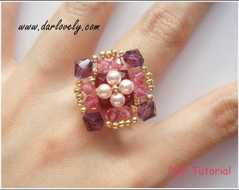 Beaded Ring Pattern - Pearl Flower Amethyst Rose Ring (RG176) - Beading Jewelry PDF Tutorial (Instant Download)
