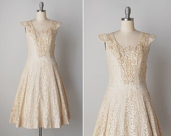 vintage 1950s dress / 50s sequin dress / cream lace dress / Chantal dress