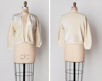 vintage 1950s cardigan / 50s sequin sweater / cream sequin sweater / Glisten and Glow sweater