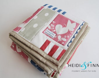 baby quilt, blanket, baby bedding ALICE in WONDERLAND reds ready to ship only 1 available