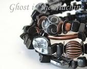 Unusual black onyx bracelet unique jewelry black memory wire wrap bracelet unique bracelet ghost unique jewelry mind body philosophy