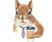 Coffee Squirrel Watercolor Print - Red Squirrel, Funny Watercolour, 5x7, Coffee Lover