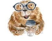 Beaver Watercolor - 8x10 Watercolour PRINT, Coffee Lover, Beaver with Glasses, Nursery Art, Kitchen Art