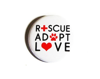 Animal Pinback Buttons Rescue Adopt Love Cat Ladies Dog Lovers Pet Accessories