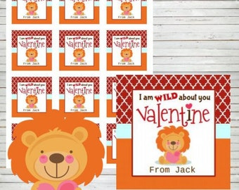 "Valentine Tags Instant Download Editable 2"" Square Tags Printable Lion Tags Labels Stickers DIY Tags Lion Happy Valentine's Day Stickers VA8"