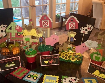 Farm birthday party package decorations - banners - personalized decor - custom decorations - party package - tractor, animals, farm, kids