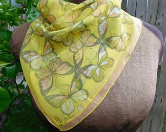 Vintage VERA Neumann Yellow graphic Butterfly Ladybug scarf Vera sheer square scarf