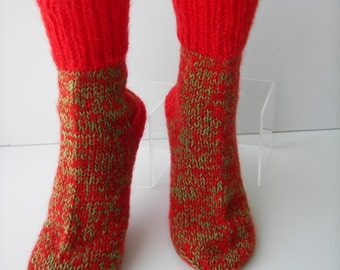 UNIQUE Hand Knit Mohair Socks in RED & GREEN/ Adult Knit Socks/ Cabin Wedding / meaningful gift/ Christmas socks