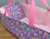 Doll Carrier, Will Fit Bitty Baby and Stella Dolls, Lavender and Pink Floral and Butterfly, 16 Inches Long
