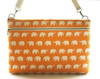 "15"" Macbook or Laptop bag with zipper pocket and detachable shoulder strap -Gray Elephant -Ready to ship"