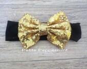 Black and Gold Baby headband, baby head wrap, sequin bow headband, baby turban, baby headband bow,infant headband,gold baby hair bow