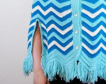 Blue Chevron Poncho // 1960s Crochet Fringe Cape // Turquoise Sweater Poncho // Handmade Winter Fashion Vintage Outerwear