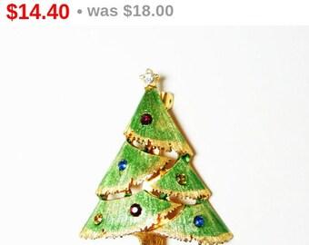 Vintage Christmas Tree Brooch - Enamel Light Green & Multi Colored Rhinestones - Holiday Pin
