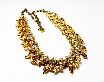 Aurora Borealis & Leaves Choker - Goldtone Leaves and Sparkling Rhinestones - Choker Length Necklace - Vintage Mid Century - 1950s 1960s