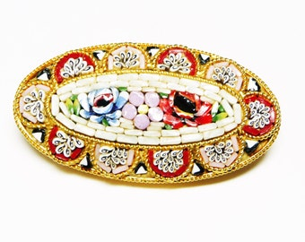 Italian Mosaic Brooch - Spring Flower Garden - Multi Colored Rose Flowers in Gold Oval Setting - European Vintage Jewelry