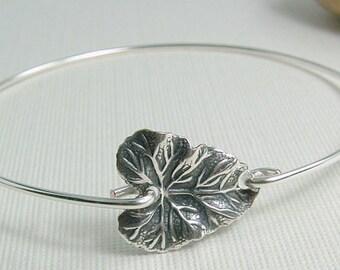 Leaf Jewelry, Leaf Bracelet, Leaf Bangle, Silver Leaf Bracelet, Summer Jewelry, Nature Inspired Jewelry, Gift For Friend Under 15