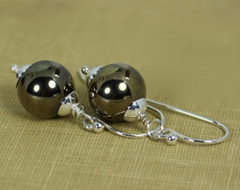 Pyrite Earrings, Pyrite Jewelry, Pyrite and Silver Earrings, Pyrite Dangle Earrings, Ask Questions