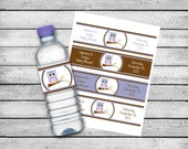 Water Bottle Labels - Purple Owl - Baby Shower Accessory - PDF File - You Print - DIGITAL FILE