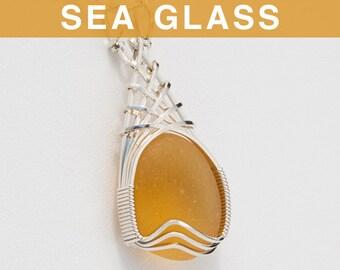 Apricot Sea Glass Pendant