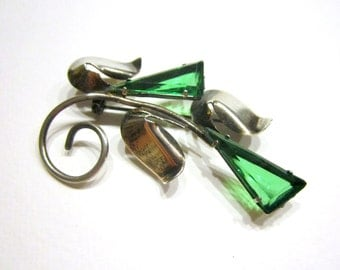 Vintage Signed Sterling Glass Brooch Art Deco Pin Geometric Flower Green Sterling Silver Gift for Her