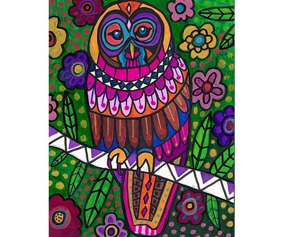 50% Off - Owl Art Poster Print of painting by Heather Galler of Painting (HG54322)