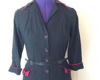 Vintage two tone dark navy and red piping office secretary dress