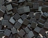 """100 1/2"""" Tumbled Black Stained Glass Mosaic Tiles"""