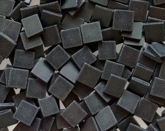 Tumbled Black Stained Glass Mosaic Tiles