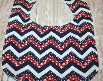 Baby Bib-Fourth of July Bib- Red-White- Blue Bib-Chevron Baby Bib- Gender Neutral Baby Bib- Bibs
